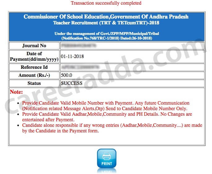 Ap Dsc Journal number