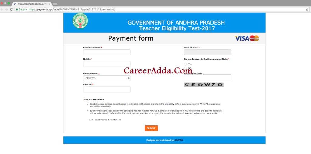 aptet 2017-18 Payment