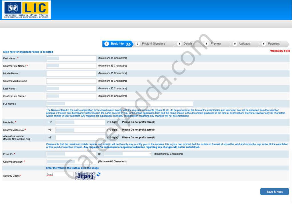 LIC AAO Online Registration