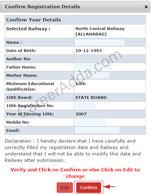 RRB Group D Confirmation
