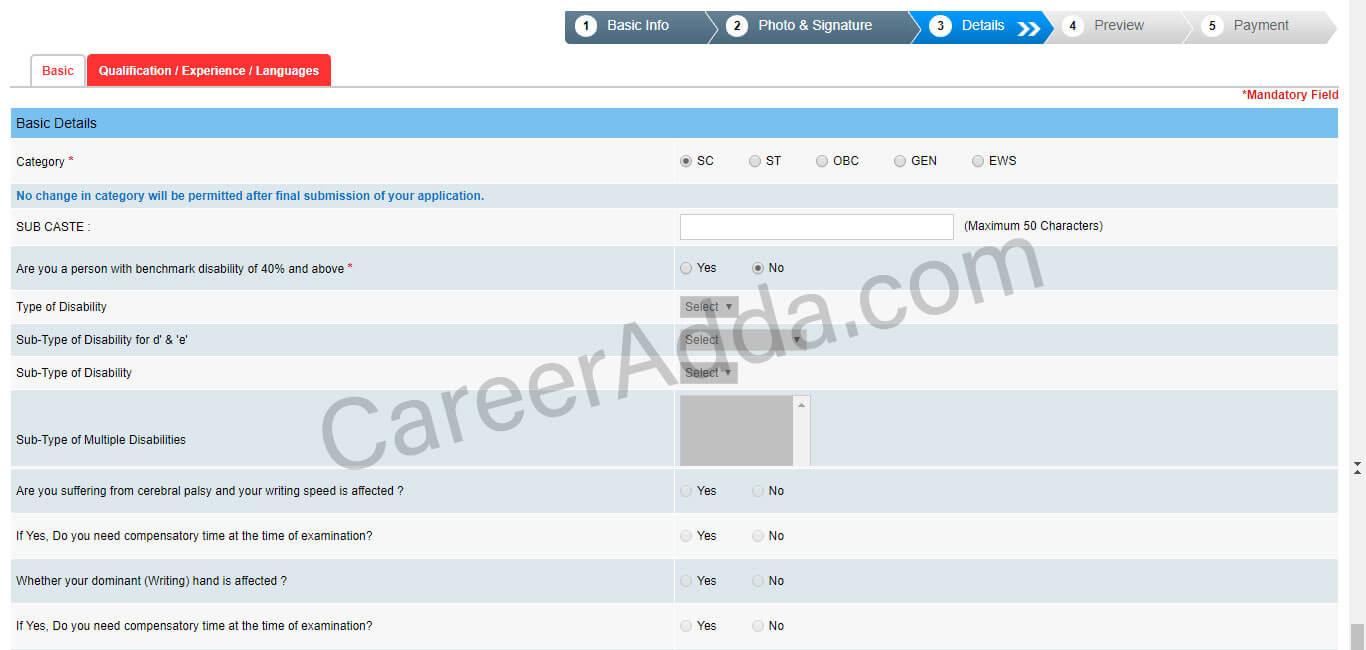 SBI PO Application Details