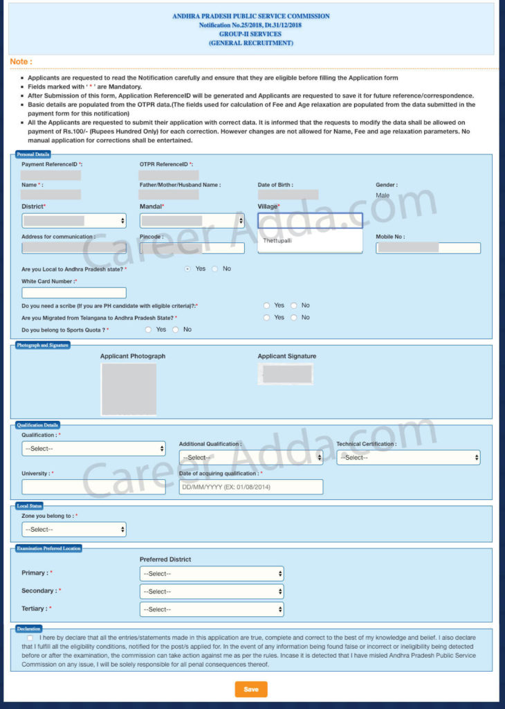 APPSC Group 2 Application