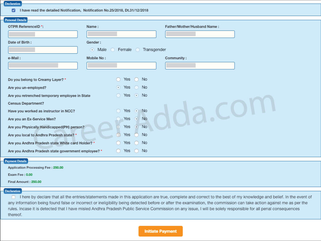 APPSC Group 2 Application Form