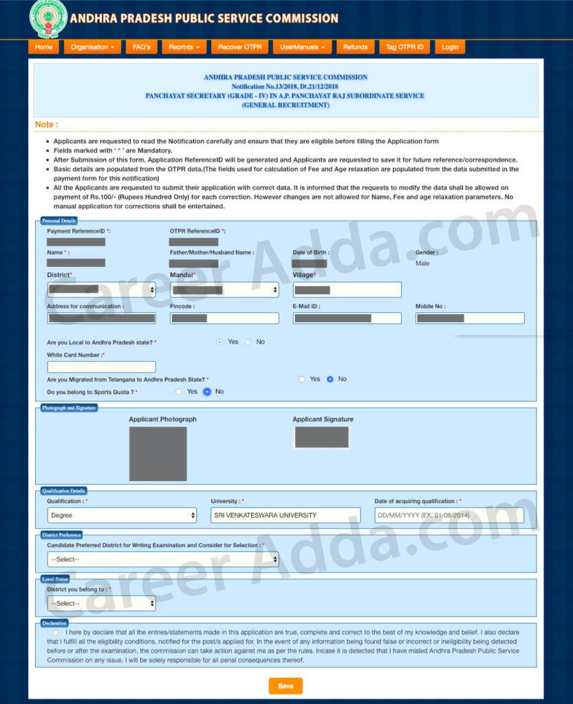 appsc group 3 online application form