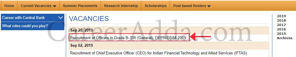 RBI Grade B Apply Online