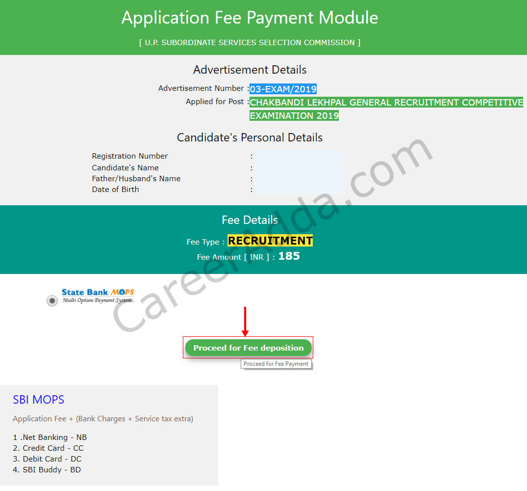 UP Lekhpal Fee& Payment Mode