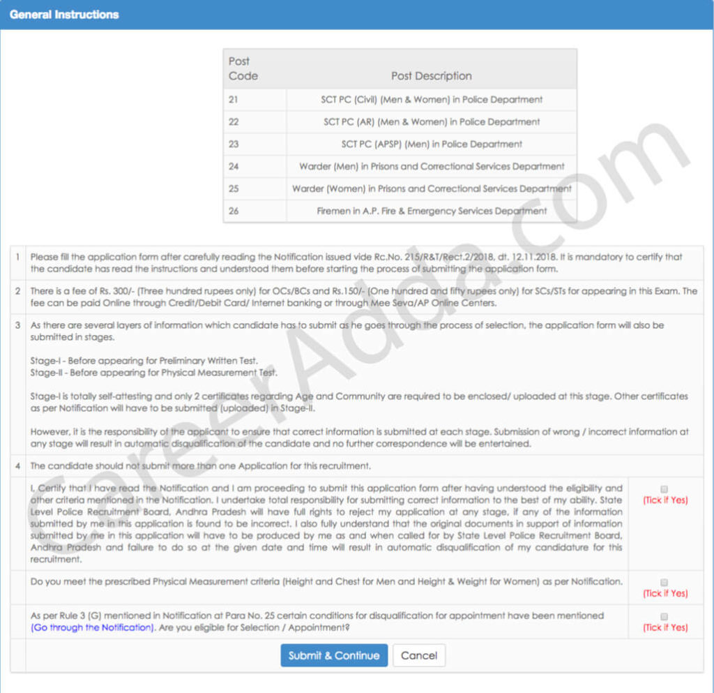 AP Police Constable Application