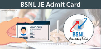BSNL JE Admit card