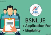 BSNL JE Application Form