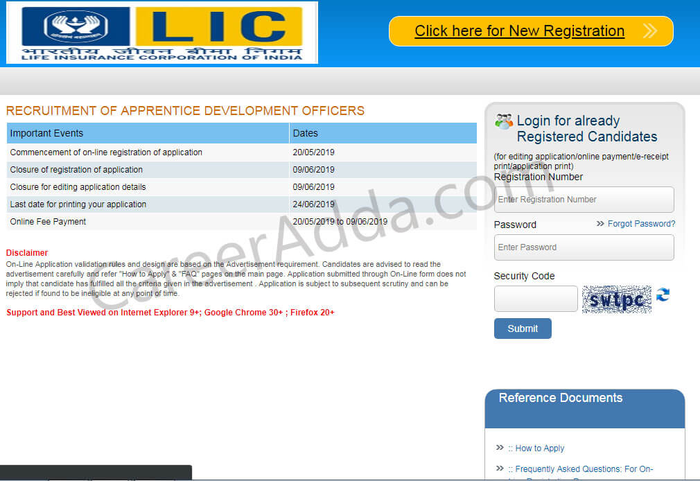 LIC ADO Registration