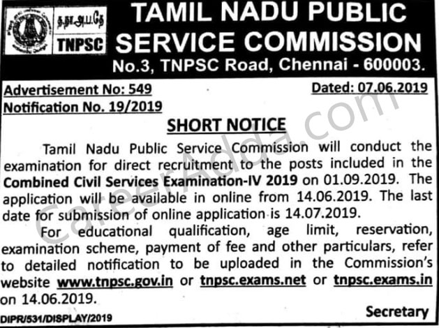 TNPSC Group 4 Notification 2019 : Exam Date, Application