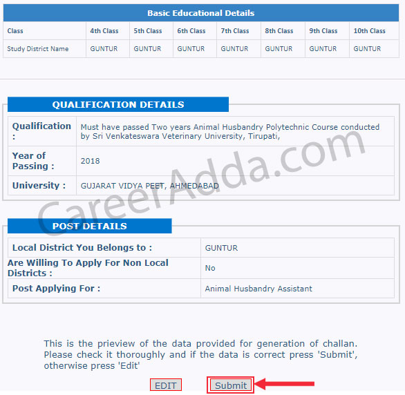 AP Grama Sachivalayam Apply Online Preview