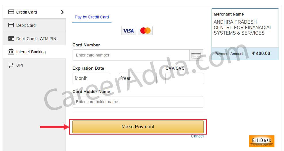 AP Grama Sachivalayam Fee Payment
